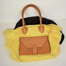 Pour La Victoire Handbag Large Tote Yellow Canvas Tan Leather Purse
