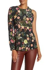 Theory Floral One Sleeve Silk Blouse Sz M