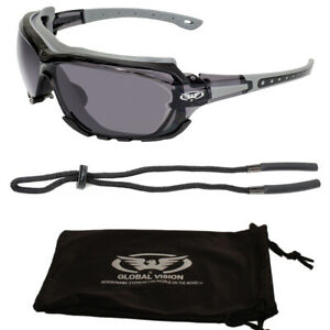 Skiing Sunglasses Detachable Gasket & Cord + Pouch UV400 Category 3 Grey Tinted
