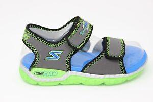 Boys' Skechers Astrozoid Sandals 97520L/CCLM Charcoal/Lime Cosmic Foam Brand New