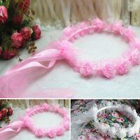 Hot Flower Girls Headband Garland Halo Rose Ribbon Lace Headpiece Wedding Tiara