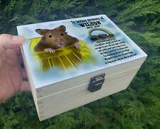 Pet Hamster wooden urn for ashes, Memory box, Keepsake box, Wooden pet casket.