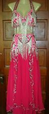 Professional Belly Dance costume hot pink and silver Madame Abla, EUC!