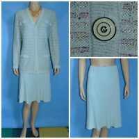 St John Collection Blue Jacket Skirt L 12 14 2pc Suit Buttons Multicolor