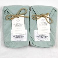 Restoration Hardware Vintage Washed 464 Percale Lumbar Shams Set X2 Silver Sage