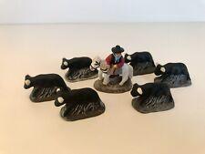 Santons De Crèches - Gardian à cheval avec  6 taureaux - Taille Puce 2,5cm