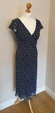Vintage MARILYN ANSELM HOBBS Azul Marino Vestido De Té para tamaño de Reino Unido 12 Boda Fiesta Baile