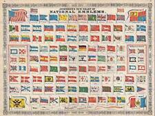 CHART THE FLAGS AND NATIONAL EMBLEMS THE WORLD POSTER PRINT 12x16 inch 2944PY