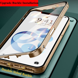 Double-Sided Buckle Case for iPhone 12 Pro Max 11 SE2 XR X 8 7 Metal Glass Cover