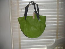 NWT Olivia Harris by Joy Gryson~Art to Wear~Large Green Leather Bucket Purse Bag