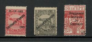 FIUME- 3 RAREST AND MOST VALUABLE STAMPS -with CERTIFICATES