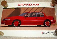 1990 or 1991 RED PONTIAC GRAND AM SE DEALER SHOWROOM POSTER 36 X 24