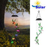 ColorChanging LED Solar Powered Hummingbird Wind Chime Light Yard Garden Deco SL