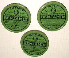 BENJAMIN AIR RIFLE steel shot ONE POUND TIN LID LOT 3 pcs LIDS ONLY UNUSED NOS