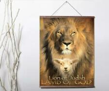 LION OF JUDAH LAMB OF GOD RELIGIOUS Canvas poster with wood scroll 24x36inch