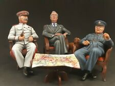 Meeting in Tehran 1943 Stalin Roosevelt Churchill  90 mm  HAND-PAINTED
