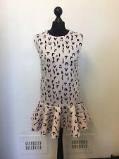 Maje Light Pink Alphabet Peplum Mini Dress Scuba Designer Size 2 8 10 Drop Waist