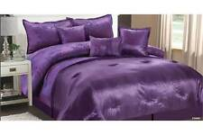 LUXURY VIP JACQUARD DOUBLE BED SIZE 7 PIECE COMFORTER SET, IN PURPLE & BLACK