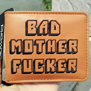 Men's Pulp Fiction BAD Mother F*cker PU Leather Wallet Embroidered Credit Case