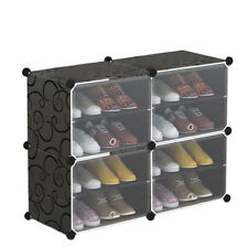 Shoe Cabinet Storage 4 Cube Box Drawer Cupboard Footwear Stand Rack Unit Holder