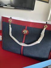 Gucci Rajah Brown Suede Web Stripe Tiger Large Maxi Leather Tote Bag 537218