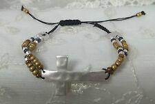Drawstring Silver Cross Bracelet Brown Bead Fashion Jewelry New