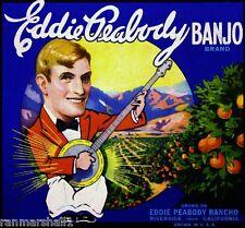 Riverside Eddie Peabody Banjo Orange Citrus Fruit Crate Label Vintage Art Print