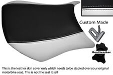 WHITE & BLACK CUSTOM FITS KAWASAKI NINJA ZX6R 05-06 600 FRONT LEATHER SEAT COVER
