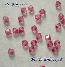 48 ROSE SWAROVSKI CRYSTAL # 5301 BICONE BEADS 4MM
