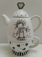 Children of the Inner Light By Marci Mother Porcelain Teapot & Cup Single Serve