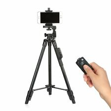 YUNTENG 5208 Aluminum Tripod with 3-Way Head  Bluetooth Remote Camera Phone clip