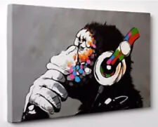 Banksy DJ Monkey Gorilla Chimp Canvas Print Wall Art Ready To Hang Deco