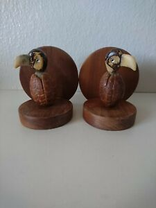 Pair Of Vintage Carved Coconut Birds Book Ends