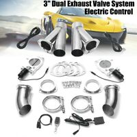 """3"""" 76mm Dual Exhaust Valve Catback Downpipe Cutout E-Cut System Kit + Remote !"""
