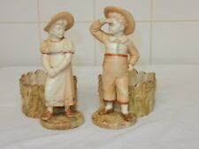 Pair Royal Worcester Blush Ivory Hadley Boy& Girl Sweetmeat Dishes 1242-3 c.1880