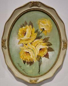 "Framed Vintage Oil Painting Of ""Roses"" By Daphne Barnet"