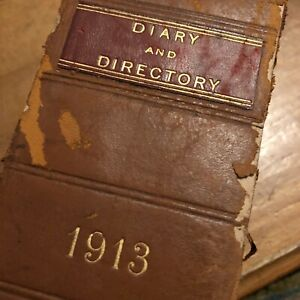 1913 Hand Written WW1 Diary Directory Surveyors + Auctioneers 750 Pages Book Old