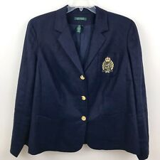 Lauren Ralph Lauren Womens 18W Blazer Navy Blue Linen Gold Crest Pocket Jacket g