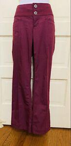 ATHLETA Burgundy/Plum 2-Button, Back Zipper Pocket Athletic Pants. Size 4P EUC!
