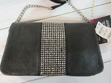 Purse INC Black Rhinestone Part Chain Strap Leather Envelope Baguette NWT P177