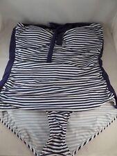 NWT Bettie Page Pin Up Stripe Swizzle Sheath 1pc swimsuit sz 18W Current Mood