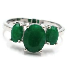 Classic Real Green Emerald Woman's Wedding Silver Ring US 6.0#