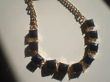 BANANA REPUBLIC  GOLD TONE &  SQUARE NAVY BLUE  BEADED NECKLACE