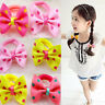 New Fashion 10pcs Kids Sweet Dot Bow-knot Printing Hair Clip Ribbons Hairbands a