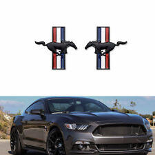 2pcs Running Horse Pony Chrome Badge Emblem Door Fender Sticker For Ford Mustang