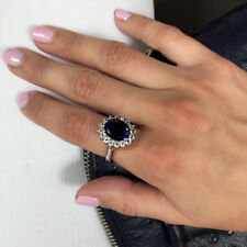 14K White Gold 3.48 Ct Real Diamond Blue Sapphire Ring Style Princess Diana Ring