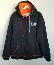 NHL Philadelphia Flyers Rinkside Hoodie Jacket Zip Fleece Lined Black Orange XL