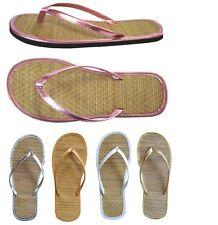 WHOLESALE LOT Women's Sandals Bamboo Straw Flip Flops (1212)--Mix colors