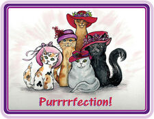 3X LAVENDER T SHIRT CUSTOM PINK & RED HAT KITTY CAT DESIGN FOR SOCIETY LADIES