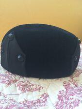 Vintage Ladies Jan Leslie Black Velvet & Silk/Satin Pillbox Hat '50's - 60's